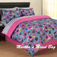 Girls pink roxy floral summer bloom full twin size bedding comforter