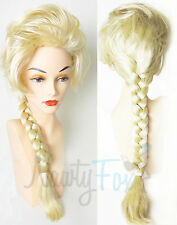 High Quality Frozen Snow Queen Princess Elsa Long Blonde Braid Adult & Child Wig