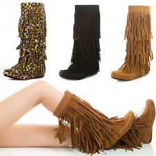 Moc Round Toe 4 Layer Fringe Tassel Moccasin Womens Mid Calf Knee High Flat Boot