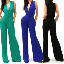 Sexy Wrap Top Wide Leg Casual Cocktail Rayon Jersey Knit Playsuit Jumpsuit S M L
