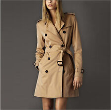 Women's Fashion Slim Fit Double-breasted Trench Coat Long Outwears Jacket US Sz