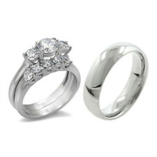 His Hers 3 PCS Stainless Steel Womens Wedding Ring Set w/Mens Matching Band