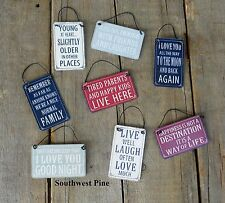 Mini Metal Tin Hanging Sentiment Signs Shabby Chic In A Choice Of Designs