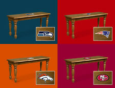 FC684 DARK OAK NFL TEAM LOGO THEMED SOLID WOOD FARMHOUSE STYLE DINING BENCH