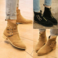 Womens Riding Boots Pointy Toe Three Buckles Front Zip Platform Flats Booties