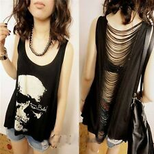 Sexy Lady Skull Head Printed Tee Camisole T-shirt Sleeveless Loose Tank Top Vest