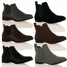 D7J New Womens Pull on Flat Chelsea Ankle Boots Fashion Smart Ladies Pixie Shoes