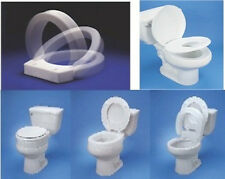 HINGED RAISED ELONGATED or ROUND OVAL EXTENDED TOILET SEAT RISER