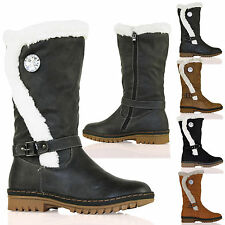 S2S New Womens Fur Lined Fashion Mid Calf Boots Trim Diamante Ladies Shoes Size