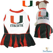 NCAA Pet Fan Gear MIAMI HURRICANES Cheerleader Dress for Dog Dogs Puppy Puppies