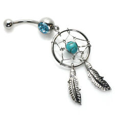 Stainless Steel Turquoise Dream Catcher Dangle Belly Navel Piercing 14g (1.6 mm)