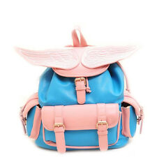 Personalized Angel Wings Dual-pocket Girl Backpack Women Leather like Travel Bag