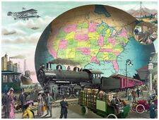 8907.Train traverses station in front of globe.POSTER.art wall decor graphic art