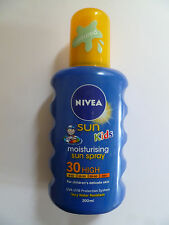 NIVEA KIDS MOISTURISING SUN LOTION SPRAY 200ML SPF 30 50 COLOURED WATER RESISTAN