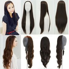 fashion women/girl half wig curly wave straight long hair 3/4 wig clips in on