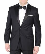 Calvin Klein Mens 100% Wool Regular Fit Black Flat Front Suit Notch Lapel Tuxedo