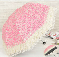 New Folding Windproof Anti UV Clear/Rain Korean Lacework Princess Umbrella