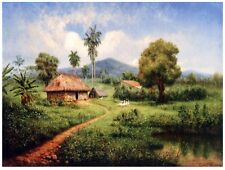 9108.Small straw cottage in tree-filled field.POSTER.decor Home Office art