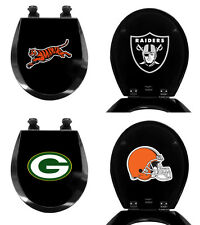 FC673 NFL FOOTBALL THEMED BLACK FINISH MOLDED WOOD ROUND TOILET SEAT COVER LID