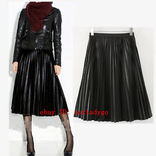 New Vintage Hepburn Faux Leather Pleated Midi Skirt Ball Gown Swing Long Skirts