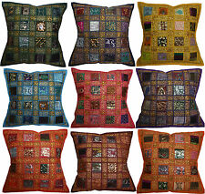 "Recycled Sari Embroidered Cushion Cover 16"" 40cm Fabric Sparkle Indian Moroccan"