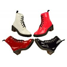 Ladies Lace up mid heel biker boots womens army funky punk goth ankle boots