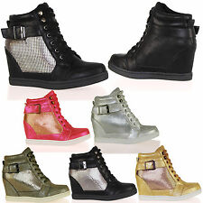 D4X New Womens Hidden Wedges Trainers Buckle Lace Up Casual Fashion Ladies Shoes