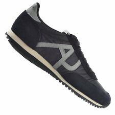 Armani Jeans black nylon and suede AJ logo lace up trainers mens uk sizes