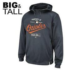 MAJESTIC PROPERTY OF BALTIMORE ORIOLES PERFORMANCE HOODIE SWEATSHIRT BIG SIZES