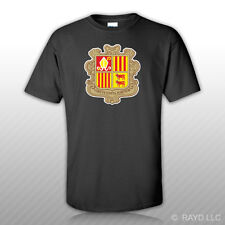 Andorran Coat of Arms T-Shirt Tee Shirt Free Sticker Andorra flag AND AD