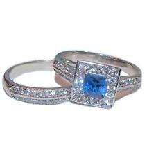 Women's Halo Sapphire Blue & Clear Cz Wedding Ring Set Stainless Steel