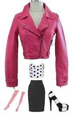 PINK Vegan Faux LEATHER Fitted CROPPED MOTO Motorcycle Jacket w/ZIPPERS BUCKLES
