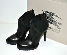 NIB $750 BURBERRY CHELSEA Black Leather Platform Ankle Booties Boots Shoes