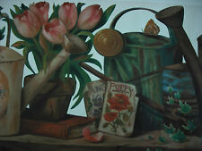 TULIPS and IVY with  POPPY SEED PACKET and WATERINGCANS  Wallpaper Border