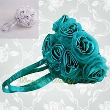 Kid Satin Organza Rosettes Handbag Tote BagPurse Wedding Flower Girl Party #020