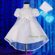 Beaded Embroidery Baptism Christening Dress Gown Cape Bonnet Baby Size 000-1 009