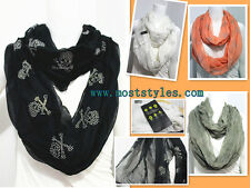 Young Design Skull Pattern Women Self-Create Style Infinity Tube Scarf Loop Wrap