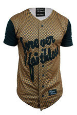 MENS FOREVER FAITHLESS GOLD BASEBALL JERSEY MUSCLE FIT SIZE S M L