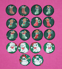 CUTE CHRISTMAS STOCKING/SNOWMEN FABRIC COVERED BUTTONS available in 30mm Size