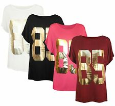New Womens Short Sleeve 85 Graphic Foil Gold Detail Plus Size Tee Tops 16-26