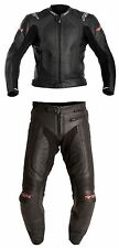 RST R-14 2PC BLACK Motorcycle/Motorbike Leather Jacket & Trousers Suit Cheap