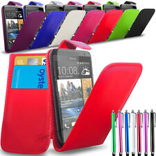 HTC Desire 510 -New PU Leather Flip Case Cover + Long Stylus & Screen Protector