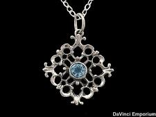 14k White Gold Baroque Pendant Necklace With 5 Gemstone Options