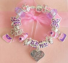 CHILDRENS/GIRLS PERSONALISE CHARM BRACELET PINK & PURPLE SPARKLE GIFT  BOXED