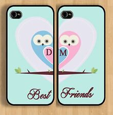 Cute iPhone 4 4s or 5 5s  6 Pair of Personalized Best Friend Owl Heart Cases
