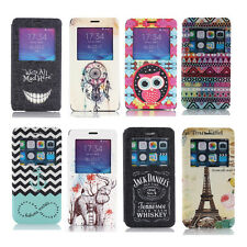 New View Window Flip Cover Stand Painting Leather Case for Samsung Galaxy Note 4