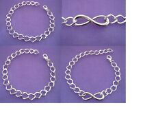 YOU PICK ~ Silver INFINITY Bracelet, Anklet or Plain Linked Charm Bracelet