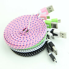 Braided 6ft Flat Noodle Micro USB Data Sync Cord Cable For Samsung Galaxy S3 S4