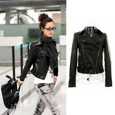 New Arrival  Women's Black Leather Coat Short Bomber Outerwear Motorcycle Jacket