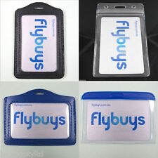 Leather Clear ID Business Card Badge Holder Horizontal Vertical Tag Plastic